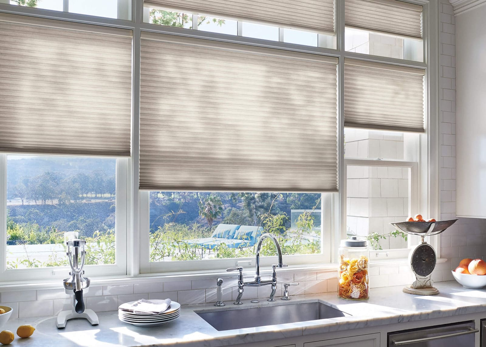 Cellular shades in kitchen