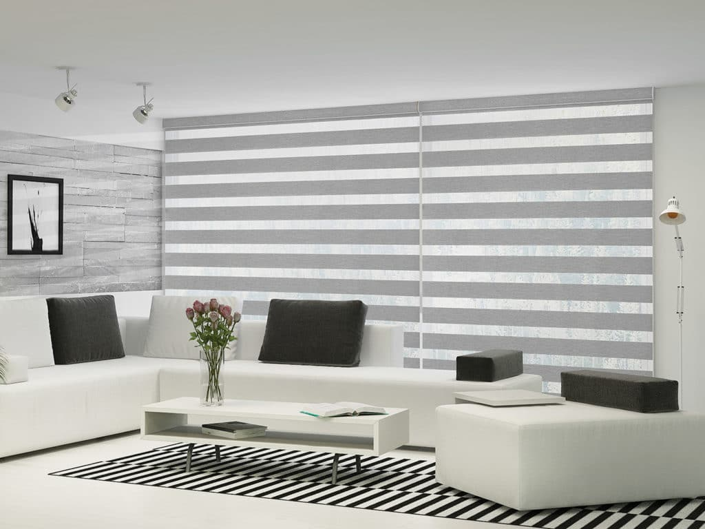 grey zebra shades in vancouver living room
