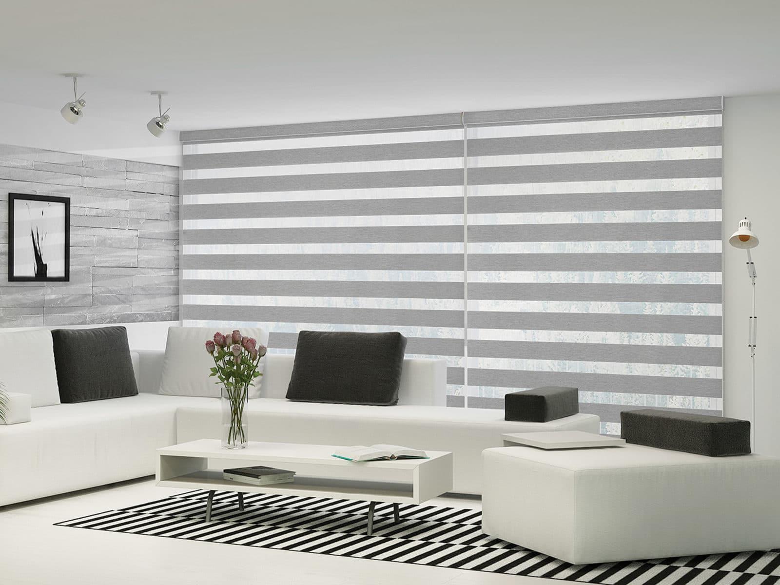 grey zebra shades in vancouver living room