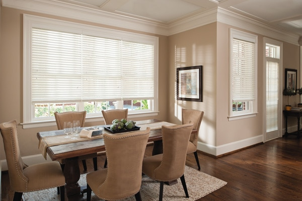 custom faux wood blinds in dining room