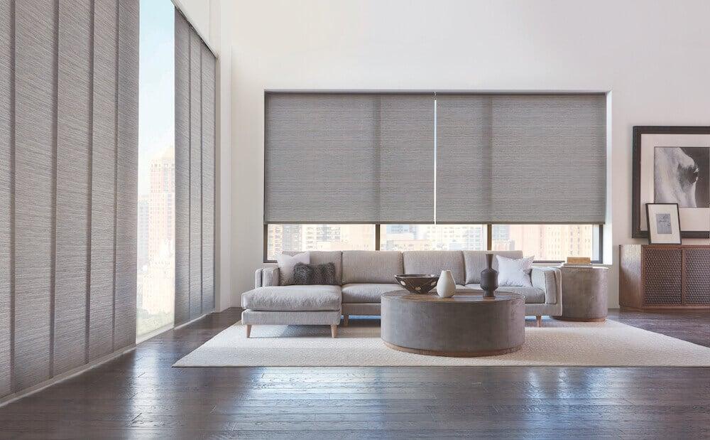 grey roller blinds in living room
