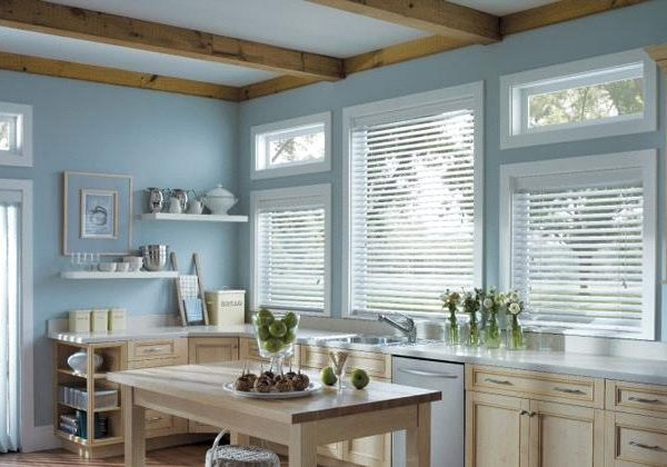 custom faux wood blinds in Vancouver kitchen