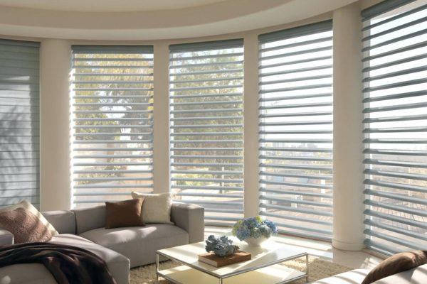 sheer horizontal shades in modern living room